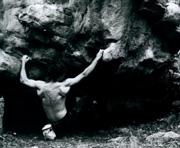 James Falla bouldering at Arapiles. Photo By Jon Bassindale.