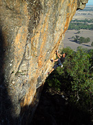 Darren Williams climbing 'Non Stop' (25), Arapiles.