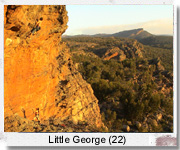Neil attempting the second ascent of Little George (22), Guard House, Grampians.
