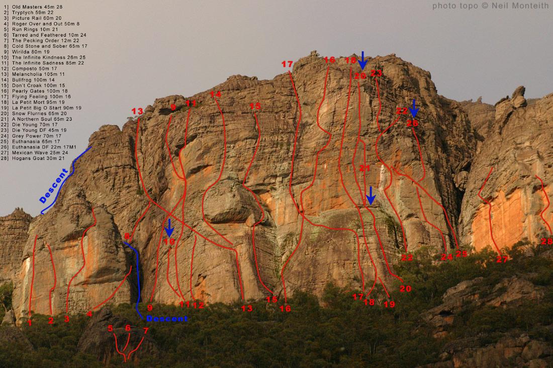 rock climbing at asses ear  grampians  victoria  australia