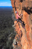 Tim Storey does the second ascent of Devilled Haircut (25), Centurion Walls, Grampians in perfect winter conditions.