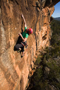 Catherine de Vaus on the recently rebolted Sandpit (20) at Centurion Walls, Northern Grampians. The route is now a quality sport route rather than a death trad horrorshow.