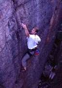 Marcel on the second ascent of Glue Pot Drive 9m 18.