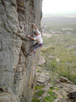 Malcolm Matheson onsights Raindancer (21), Cut Lunch Walls, Grampians.
