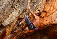 Portland boy, Dale Rankin, sizes up the last throw of Hueco Dreaming (25), only to just fall short.