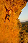 The Site's Author, Mike, flailing about in the Grampians. Photo By Neil Monteith.