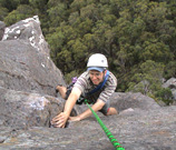 Ben seconding the last pitch of Heretic, 117m grade 17.