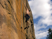 Malcolm Matheson on the 1st dyno on Abandon Ship (26), Windjammer Wall, Mt Stapylton Ampitheatre.