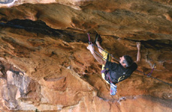 Malcolm Matheson on Poison Bait (25) at Scoop Rocks in the Grampians