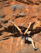 Jacqui cruises up Dwarf Pumper (20) on the far right of the cave.