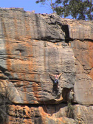 Unknown climber leading Lofty Odours, grade 21 on the Wall Of Fools.