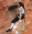 Jacqui takes a rest on Invisible Fist (26), Taipan Wall.