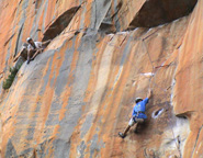 Climbers on the first pitch of Sirocco