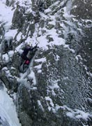 Neil soloing the first ascent of Chilled Inflexion - 2001 season