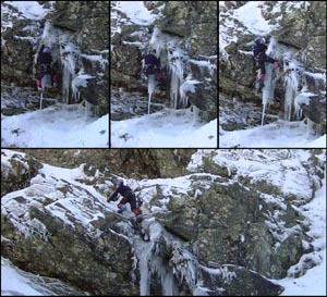 Neil on the first ascent of Fang of Fury - 2001 season.