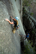 Jackie Bernardi on the crux (trad) pitch of Agrippa (23), Mt Buffalo.