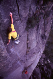 Kevin Lindorff on the FFA of a new grade 22 on the South Side of Mt Buffalo.