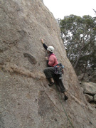 "Me leading ""Asylum for the Insane"", grade 17 at Gravel Pit Tor."