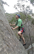 "Ben leading ""Knight Moves"", 12m grade 16 at Nightfall Pinnacle."